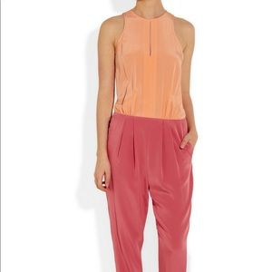 0c7c3b7b6519 Tibi Silk Colorblocked Pleated Jumpsuit